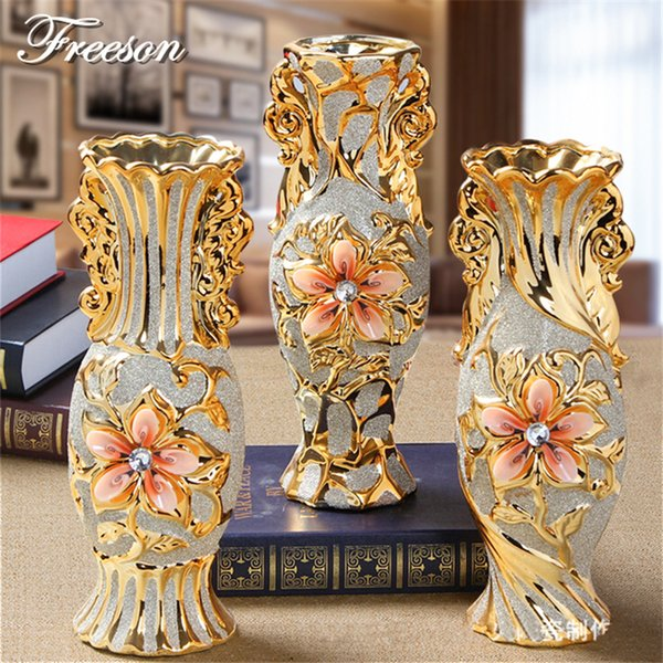 L'oro placcato Europa gelo Porcelain Vase Vintage avanzata vaso di ceramica di fiore a Sala Studio Corridoio casa Wedding Decoration