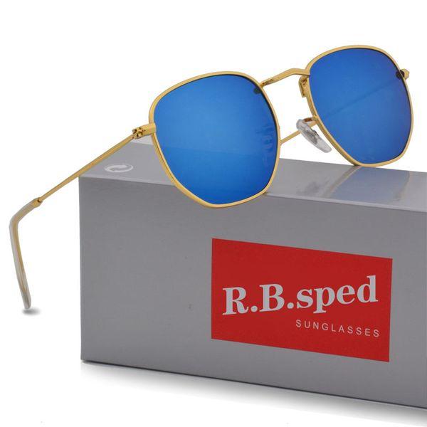 2019 Sunglasses women men Brand Designer Metal Frame Unique Hexagonal Flat lens Coating uv400 Sun glasses Goggle Eyewear with box and cases