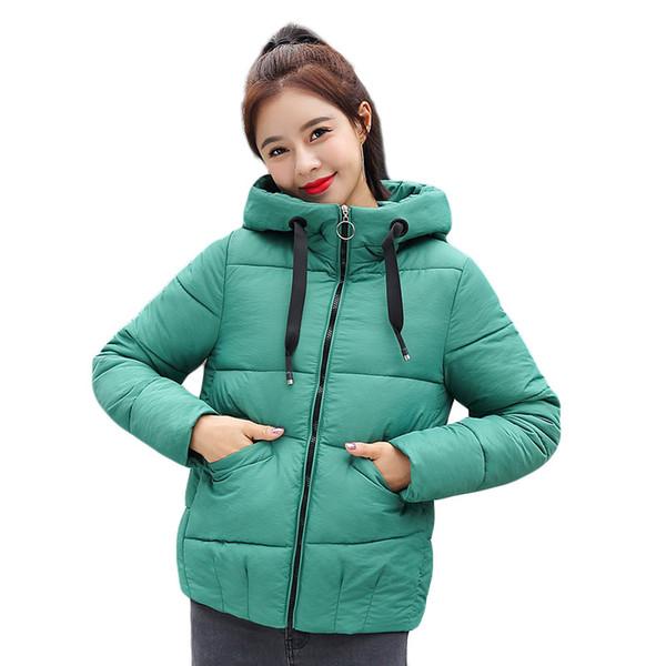 Fashion Autumn Winter Jacket Women Hooded Coat Short Slim Stand Collar Zipper Solid Parkas Thick Warm Winter Outerwear