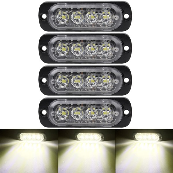 1 UNIDS 4LED Ultra-Thin Flash Light 12-24 Coche Motocicleta Borde Medición de Camión Ligero Advertencia Luz de Flash