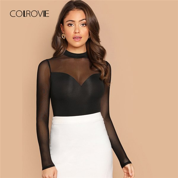 COLROVIE Schwarz Solide Mesh Sheer Cut Out Schlank Elegantes T-Shirt Frauen 2018 Herbst Langarm Sexy Hemd Büro Damen Tops Tees