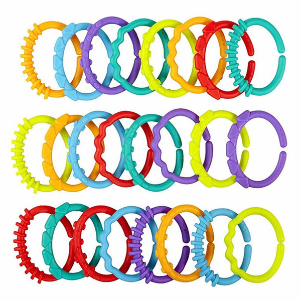 Babys Heath Teethers Colorful Rainbow Rings Baby Rattle Mobiles Crib Bed Stroller Hanging Decoration Educational Toys