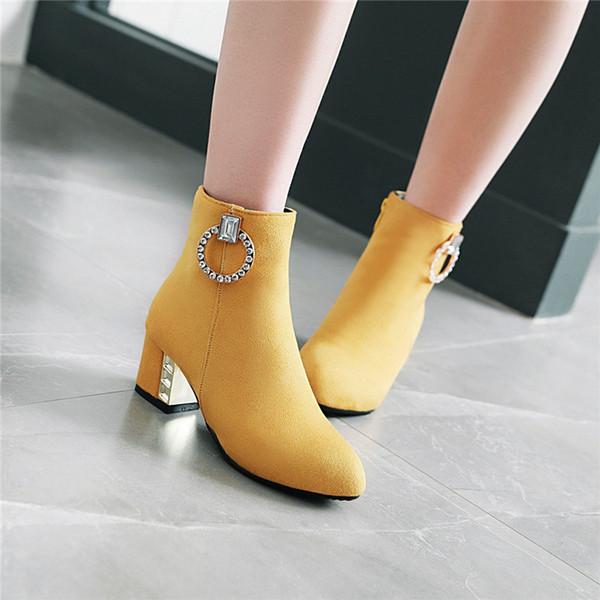 cristalina de la mujer zapatos de color amarillo Rimocy hebilla de los botines cortos de las señoras de gran tamaño botines de ante de las mujeres botines de primavera mujer