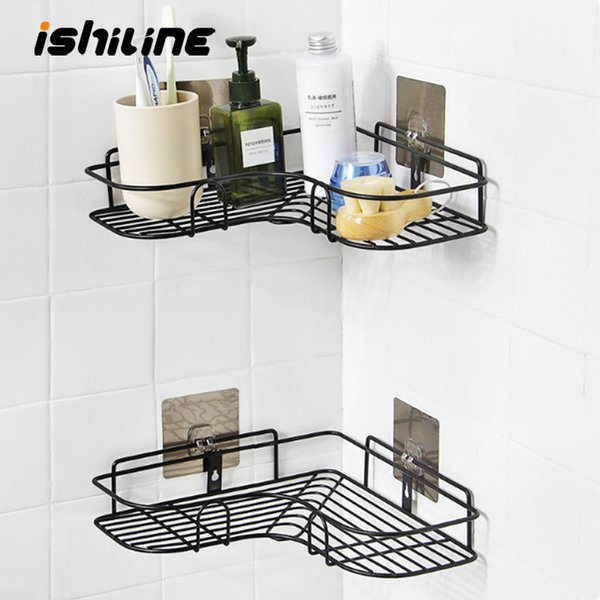 Bathroom Corner Metal Storage Rack Kitchen Wall Suction Cup Storage Holder Shower Shampoo Shelf Household Accessories