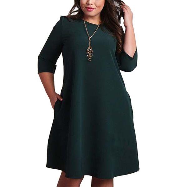 L-6xl Big Size Dresses Office Ladies Plus Size Casual Loose Autumn Dress Pockets Green Red Fashion Dress Vestidos Women Clothes Y19053001
