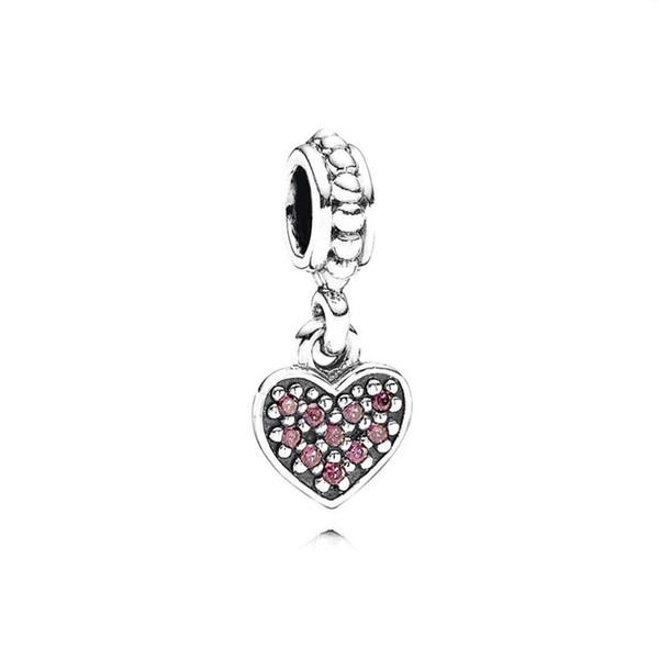 100% 925 Sterlingsilber 1: 1 791023CZR Red pflastern hängende Herz baumeln Charme der ursprünglichen Frauen Brautmode Schmuck Geschenk