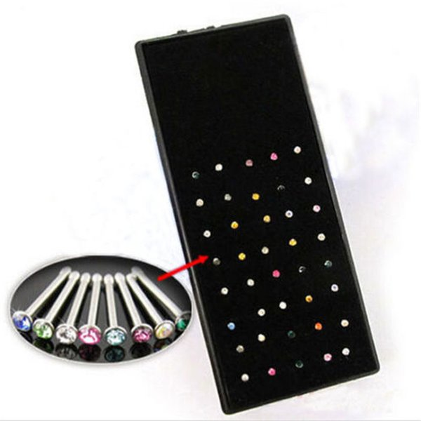 New 40pcs/bag 1.6mm Body Crystal Rhinestone Piercing Jewelry Women Men Girl Pink Bone Stud Nose Ring