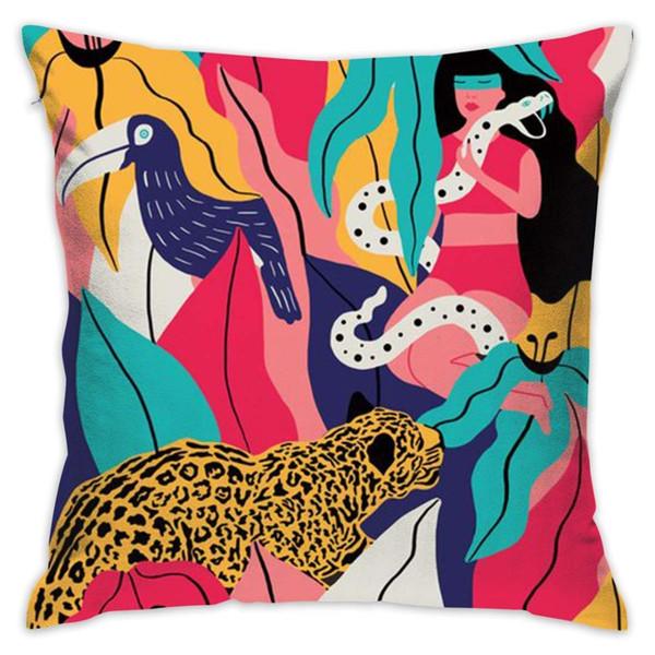 Fundas de almohada de tiro cuadrado Graffiti Woman and Tiger - Fundas de almohada para sofá femenino y masculino Dormitorio Coche 18x18 pulgadas Funda de almohada