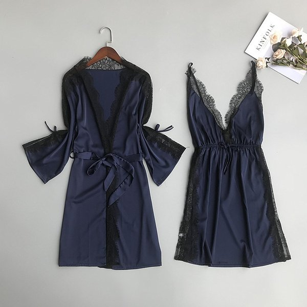 2019 Spring V-Neck Lace Sexy Gown Sets Women Sashes Spaghetti Strap Dress Nightdress Blackless Loose Robe Suits