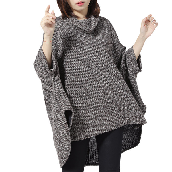LANGSTAR Knitted Cloak Sweater Women Camel Casual Autumn Winter Streetwear Ponchos Women Sweater Pullover Vintage Capes Coat