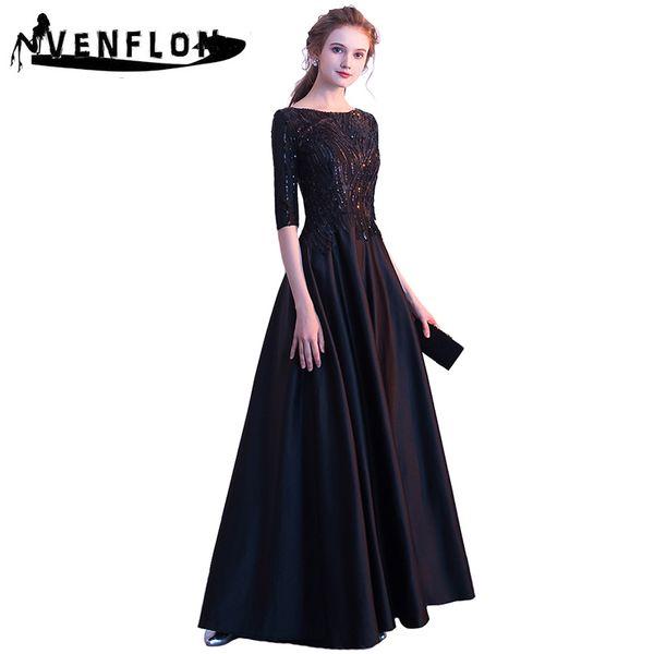 VENFLON High Quality 2019 Summer Dress Women Elegant Sexy Half Sleeve Sequin Dress 2XL Lady Ball Gown Wedding Long Party