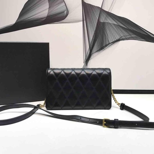2019 New Classic Fashion Designer Women Handbags Quilted Black Strap Shoulder Crossbody Bags Small Genuine Leather Purse Tote Bags 22cm