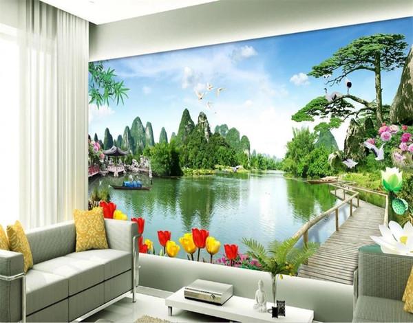 Großhandel Benutzerdefinierte Größe 3d Fototapete Wohnzimmer Bett Zimmer  Wandbild Tulip Lake China Landschaft 3d Bild Sofa TV Hintergrund Tapete  Vlies ...