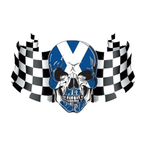 Scozzese bandiera a scacchi cranio adesivo auto moto vinile auto adesivo accessori portatile decalcomania
