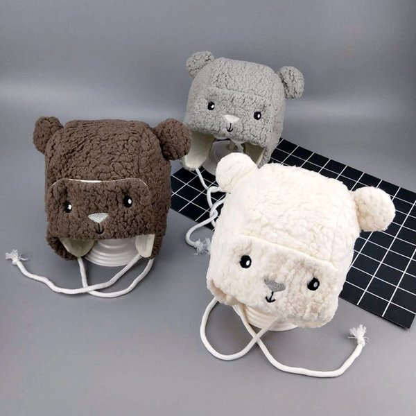 4 colors Newborn Baby animal plush hat cute Baby Boys Girls plush earflap cotton lining Bear hat 0-6m 40-42cm head girth