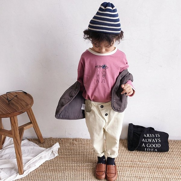 2019 Autumn New Arrival Korean Version cotton pure color fashion all-match Slant casual long Pants for cute cool girls and boys