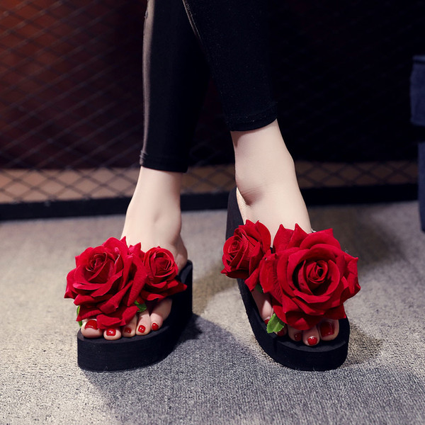 Hot Sale-Women comfy platform sandal shoes Girls Bohemian Pearl Wedges red rose Flip Flops Slippers Ladies Beach Floral dress Shoes slide