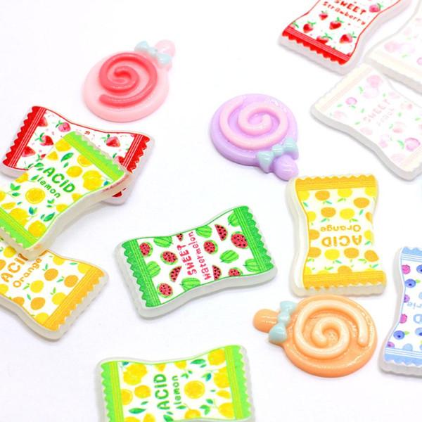 19 * 31MM gros bonbons résine Charms Flatback Doux Swirl Lollipop Cabochons Slime charme pour Fournitures Crafting bricolage Bows cheveux