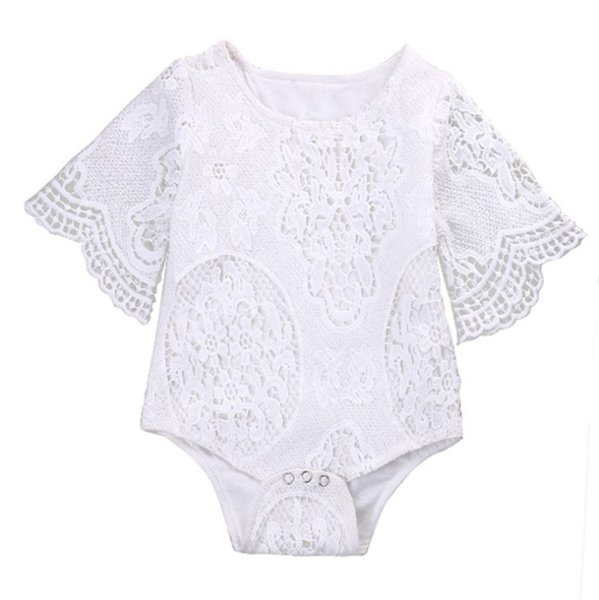 INS Baby Rompers White Lace Baby Girls Jumpsuits Hollow Newborn Outfits Ruffle Sleeve Infant Climbing Clothes Summer Kids Clothing YW2966