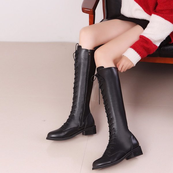 2019 new cross straps side zip high boots large size women's shoes with low heel boots