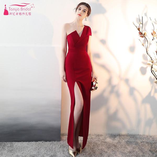 Großhandel neue 2019 eine Schulter lange Brautjungfer Kleider rot weiß schwarz bodenlangen formelle Kleidung