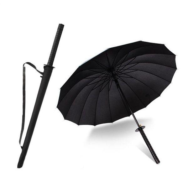 DLYLDQH di marca degli uomini lungo manico dell'ombrello del samurai nero alla moda giapponese samurai Spada Ninja Katana dell'ombrello Grande antivento