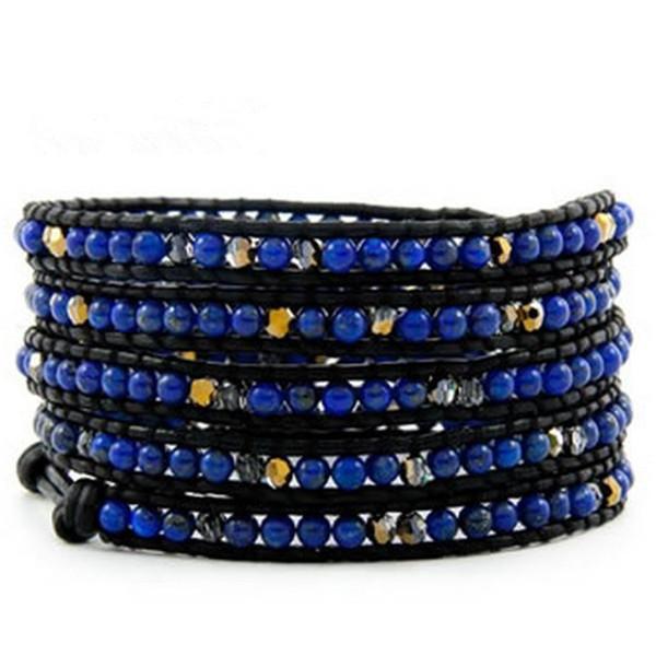 Многослойные ручной лазури лазурит браслет из бисера натуральный камень браслет для мужчин для женщин ювелирные изделия мужской оптом
