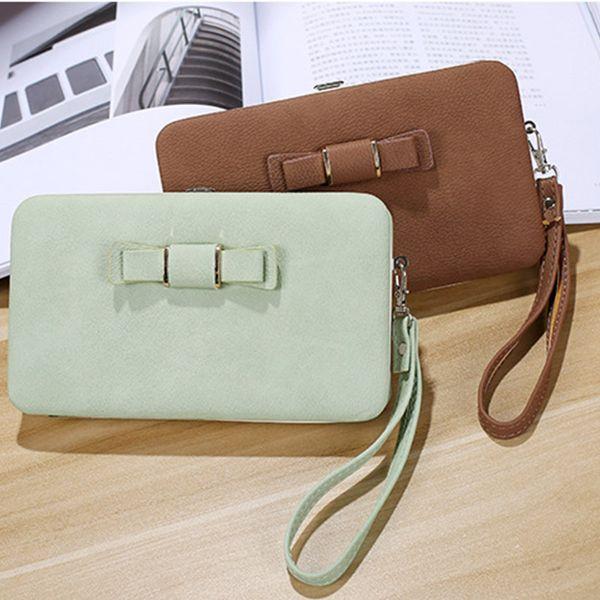 Women PU Leather Bowknot Wallet Long Card Holder Purse Phone Box Handbag Bag MSJ99