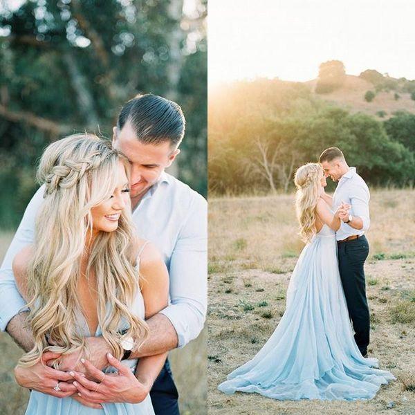 Светло-голубой трапеция свадебные платья 2019 скромные сексуальные спагетти спинки Сплит открытый страна чешские свадебные платья
