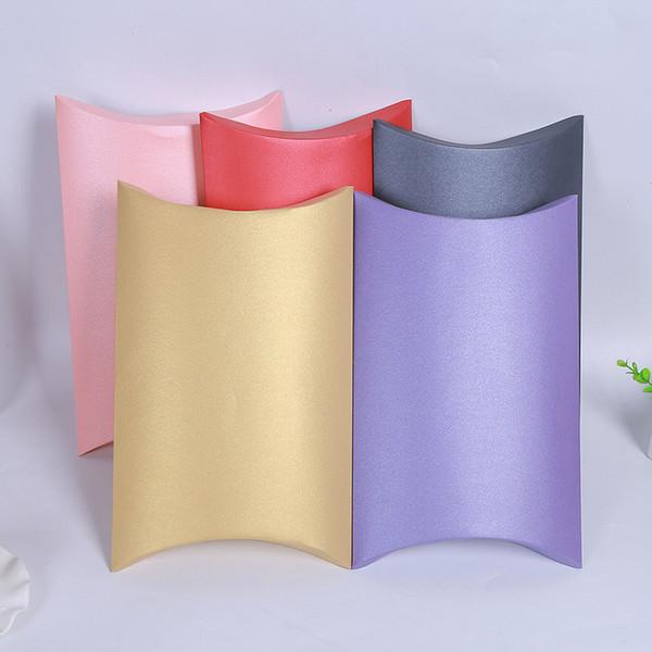 10pcs boîte de bonbons boîte de papier Kraft Oreiller en papier Faveur De Mariage Partie r Cadeau Boîtes De Bonbons Partie D'anniversaire Fourniture 27x21x5.5 cm
