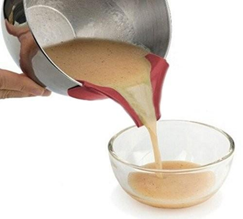 Yeni Silikon Pourer Bacalı Mess Ücretsiz Çanaklar Üzerinde Kayma Tencere Pişirme Pan Dökme Kek Gözleme Hamur Soslar Sosları Kolay Kavanoz üzerinde Klip