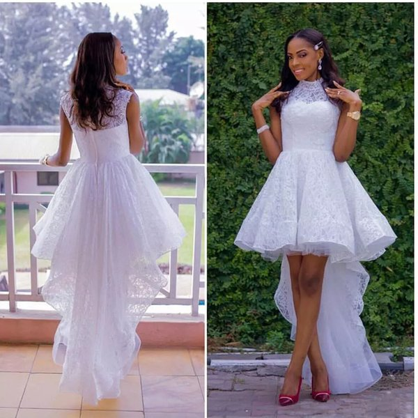 Charming High Low A-line Homecoming Dresses High Collar Full Lace Tiered Skirt Prom Gown Asymmetrical Hem Graduation Dress for Junior