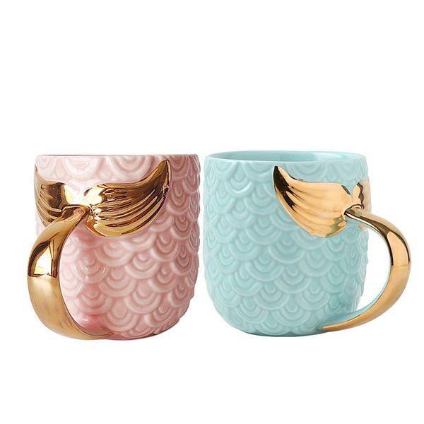 Avrupa kahve kupa mavi pembe renk güzellik sırlı çay kupaları ve altın kolu ile kupalar yaratıcı seramik mark drinkware