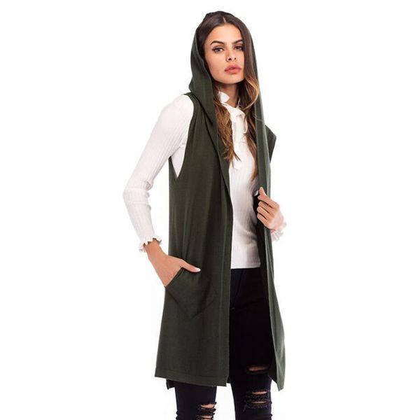Herbst und Winter neue Frauen Anzug Kragen Volltonfarbe ärmellose Weste Strickjacke langen Kapuzenmantel Z-3-5879