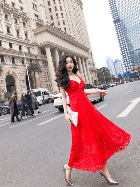 Summer 2019 New Korean Sexy Women Clothing Deep V Sling Wedding Banquet Party Dress Long Skirt Formal Wear QC0155