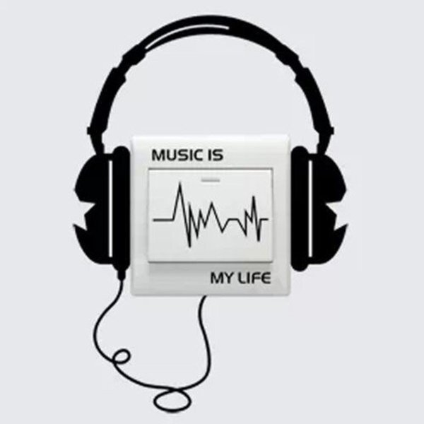 Character Funny DIY Headset Switch Sticker Decal Music Is My Life Wall Stickers