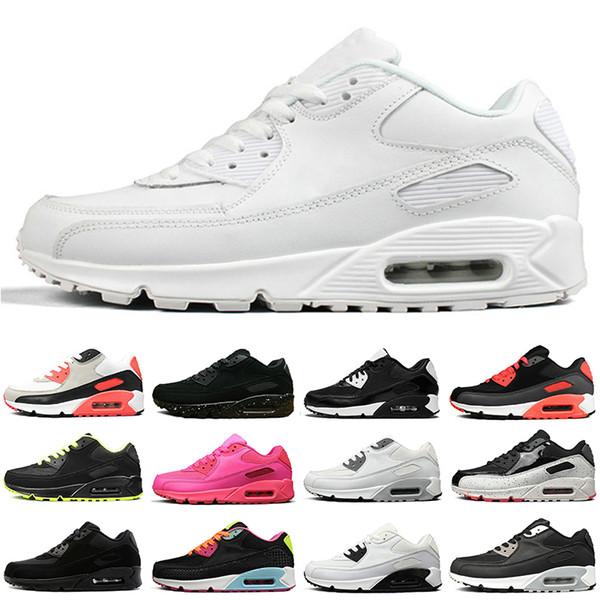 Nike Air Max 90 90s Neue Laufschuhe für Männer, Frauen, schwarz, weiß, oreo, rotes Leder, Wildleder, flaches Kissen