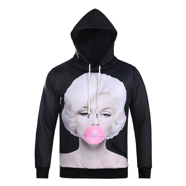 Bolsillos negros de la chaqueta con capucha de la cara divertida de Monroe en ambos lados de la impresión digital 3D Suéter Sudadera con capucha