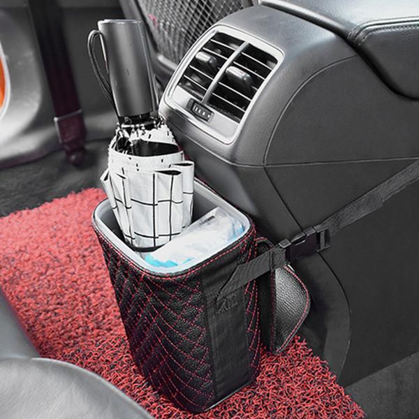Mit Deckel-Organizer Multifunktionswurf Zubehör PU-Beutel Leakproof Auto Bin Abfalleimer Aufbewahrungsbox Hanging Wasserdicht