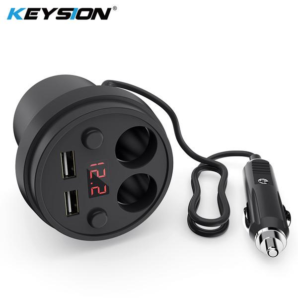 KEYSION 3.1A / 120W double LED USB voiture Coupe du chargeur de charge d'affichage numérique Téléphone charge avec 2 allume-cigare pour GPS DVR