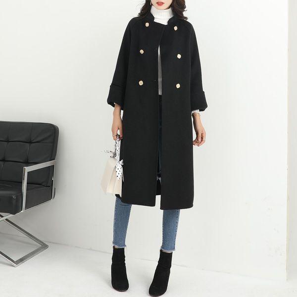 Ofis Lady Katı Uzun Yün Blend Bayanlar Coat Moda İnce Kadın Ceket Çift Breasted Koreli Bayan Moda Coat