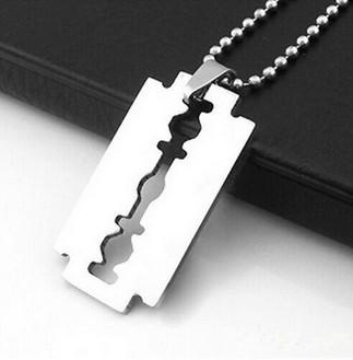 European High Quality New Men's Stainless Steel Titanium Steel Razor Blade Pendant Silver Color Ball Cool Mens Chain Necklace Wholesale