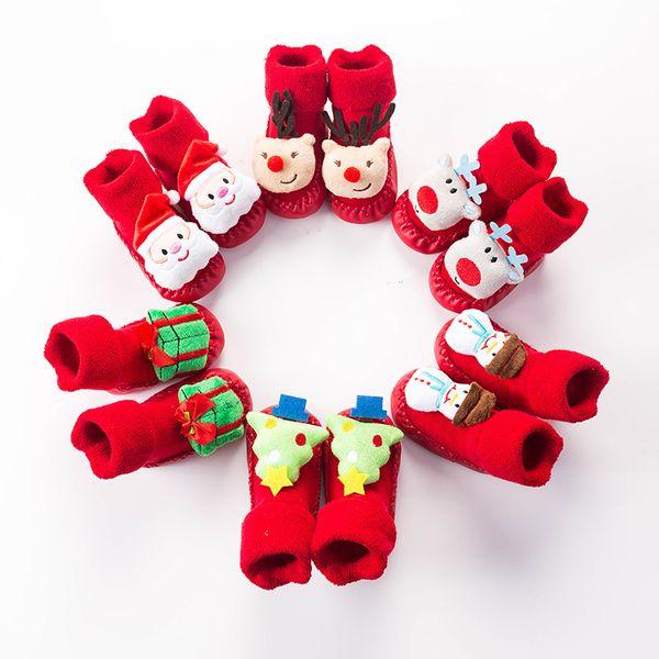 Infant peúgas do Natal do bebê recém-nascido Xmas Anti Slip Sock dos desenhos animados Inverno Quente Piso Socks Criança Primeiro Walker Kids Clothing M730