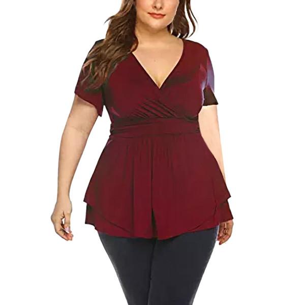 YOUYEDIAN Mujer de gran tamaño Blusa Mujer Tallas grandes Cuello en V Abrigo Drapeado Tops de verano Camisa de cintura plisada Blusa tunique femme
