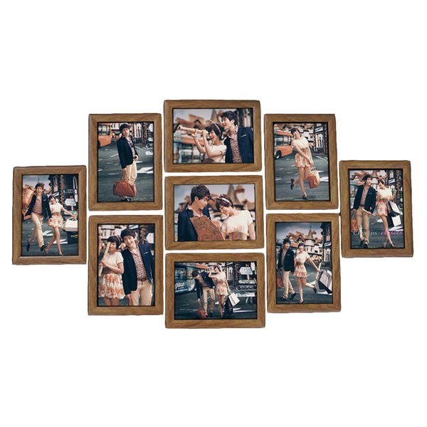 9pcs Frame Set 7-inches Creative Wedding Series Family Photo Frames For Picture Wall Decor 2018 C19041701