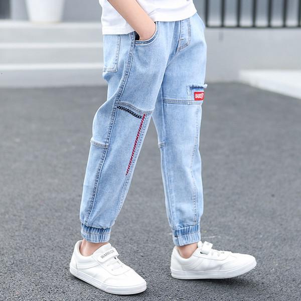 Enfants Garçons Jeans Été Mode Pantalons Broderie Enfants Patchwork Denim Pantalons longs Enfants Ados Boy Casual pantalons 6-14Yrs T191016