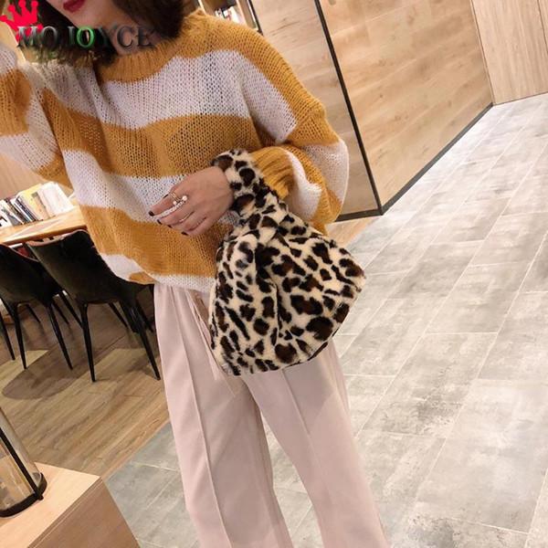 Women Leopard Print Shoulder Handbags Faux Fur Casual Travel Bags Purse Bolsa Feminina Handbags Women Bags Designer