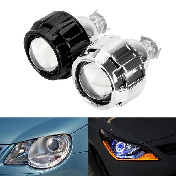 Conchiglia nera argento 2,5 pollici per H1 Xenon Lampadina a LED H4 H7 Accessori per fari per auto moto Xenon HID Lente per proiettore