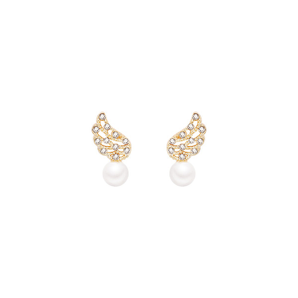 Personality fashion design feeling wing pearl small and sweet earrings Korean simple, gentle temperament Zircon Earrings