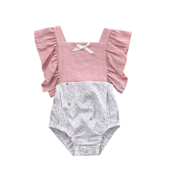 Summer Infant Baby Girls Flower Patchwork Rompers Toddler Bodysuits Ruffles Bowknot Straps Jumpsuits Clothes Baby Clothing